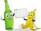 Board Illustration Featuring a Banana and Bottle Mascot Holding a Blank Piece of Paper