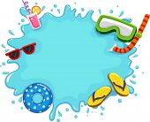 Frame Illustration Featuring Water Splashing on the Screen Along with Common Items Used During the S