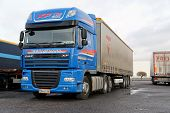Blue Daf Xf Super Long Haulage Truck