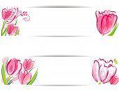 Set of tulips background