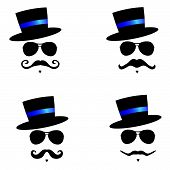 Face With Mustache With Blue Hat Color Vector