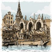 Vintage Hand Drawn View Of Old Church In Amsterdam