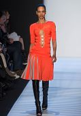 NEW YORK-FEB 8: A model walks the runway at the Herve Leger by Max Azria fashion show during Mercede