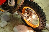 stock photo of dirt-bike  - Rear wheel of motorcycle - JPG