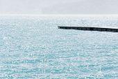 Dock over water in Sun Moon Lake, Taiwan, Asia.