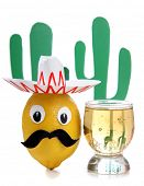 Tequila glass and Mexican toys of vegetables