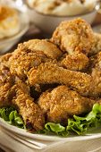 foto of southern fried chicken  - Homemade Southern Fried Chicken with Biscuits and Mashed Potatoes - JPG