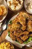 picture of southern fried chicken  - Homemade Southern Fried Chicken with Biscuits and Mashed Potatoes - JPG