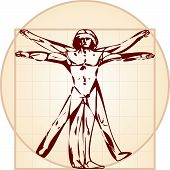 The Vitruvian man. Stylized drawing.