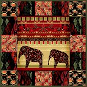 Patchwork Seamless Snake Skin Pattern With Elephans