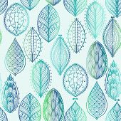 Seamless Hand Drawn Pattern With Blue Watercolor Leaves