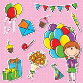 Girl With Color Balloons And Birthday Elements