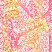 Seamless Floral Vintage Pink Gradient Doodle Pattern With Spirals