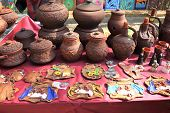 Rustic handmade ceramic clay brown terracotta jars
