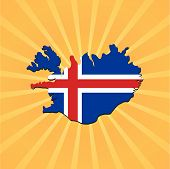 Iceland map flag on sunburst vector illustration
