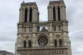 stock photo of gargoyles  - Cath�drale Notre Dame in paris gargoyle at the front