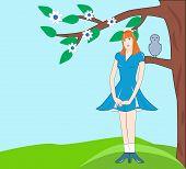 Modest Girl In A Blue Dress