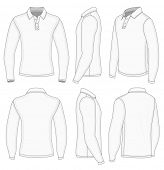 All views men's white long sleeve shirt design templates (front, back, half-turned and side views).