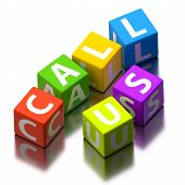 Call Us Words Made Of Colorful Toy Blocks