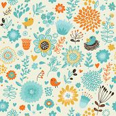 Romantic seamless pattern with birds in nests and stylish flowers