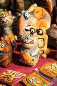 Clay figurines of funny cats