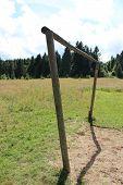 wry football gate in rural field