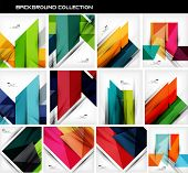 stock photo of shapes  - Collection of geometric shape abstract backgrounds - JPG
