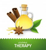 Aroma therapy icon with oil, cinnamon and anise star