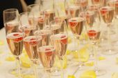 rows of champagne glasses at wedding or party