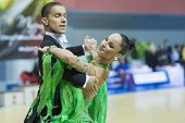 Minsk-belarus, February, 9: Unidentified Dance Couple Performs Adult Standard European Program On Og