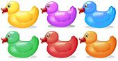 Illustration of the six colorful rubber ducks on a white background