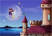 Illustration of a witch with a broomstick standing near the castle