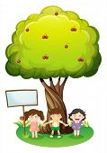 Illustration of the three kids standing under the tree with an empty signboard on a white background