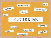 Electrician Corkboard Word Concept