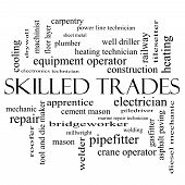 Skilled Trades Word Cloud Concept In Black And White