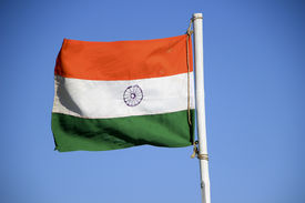 picture of ashoka  - Indian national flag with saffron white and green color bands and Ashoka chakra wheel in the middle - JPG