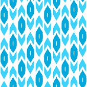 Simple ikat middle east traditional silk fabric seamless pattern in blue and white, vector