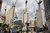 LONDON, UK - JUNE 30, 2014: New building site with cranes in Bank of England aria