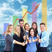 Business people group over conceptual  blue background