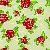 Seamless red rose buds and green leaves floral vector pattern.