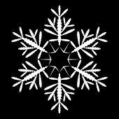 White snowflake shape on black background.