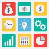 Business Icon Set Flat Design Style. Dollar, Money Bag, Idea Light Bulb, Clock, Wheel, Calculator, C