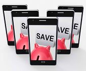 Save Piggy Bank Phone Shows Product Discounts And Bargains
