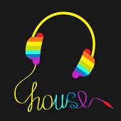 Rainbow Headphones With Cord In Shape Of Word House. Music Card.
