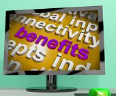 Benefits Word Cloud Screen Shows Advantage Reward Perk