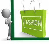 Fashion Shopping Sign Shows Fashionable Trendy And Stylish
