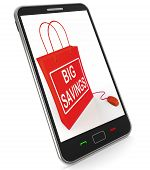 Big Savings Bag Represents Online Discounts And Reductions In Price