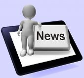 News Button With Character Shows Newsletter Broadcast Online
