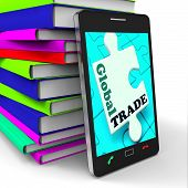 Global Trade Smartphone Means Online Worldwide Commerce