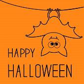 Cute Contour Bat. Happy Halloween Card. Flat Design.